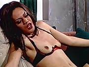 Brunette mistress spanking and whipping tranny
