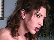 Tranny whore gets ass fucked and cum facialed