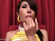 Sexy ladyboy masturbate before blowjob for jizz